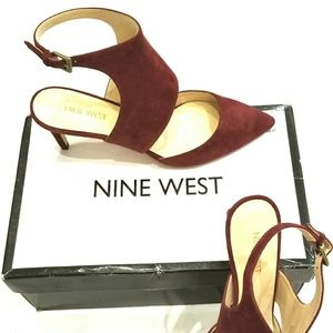 NWOT Nine West burgundy suede heels with box